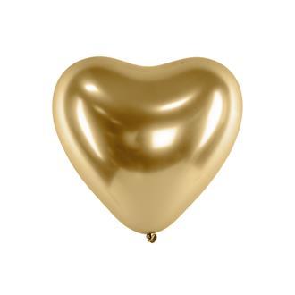 Hjärtformade ballonger guld 10-pack