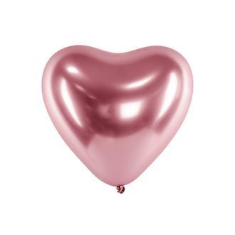 Hjärtformade ballonger roséguld 10-pack