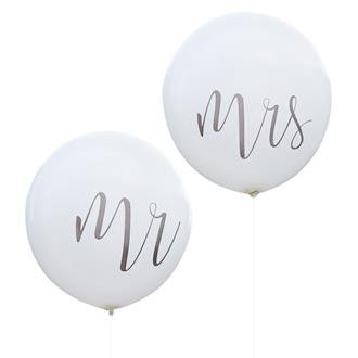 Jätteballonger Mr och Mrs, 1 m