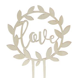 "Tårtdekoration ""Love"" trä rustik"