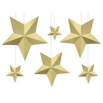 Dekorationsstjärnor guld 3D, 6st