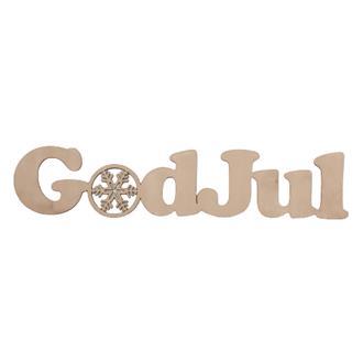 "Skylt ""God Jul"" i trä, 55 cm."