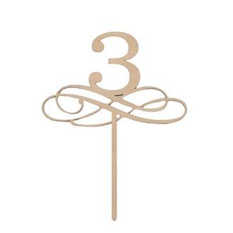 Tårtdekoration 3 år/bordsnummer i trä 3