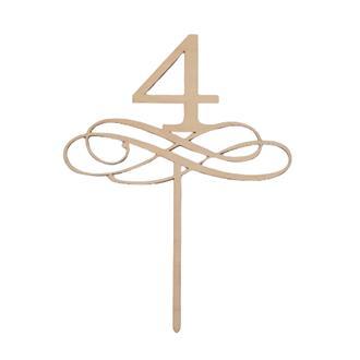 Tårtdekoration 4 år/bordsnummer i trä 4