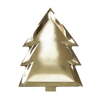 Engångstallrik julgran guld, 6-pack