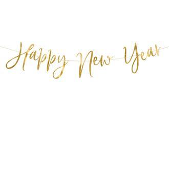 """Girlang nyår """"Happy New Year"""" guld"""