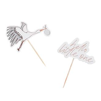 """Cake toppers/cocktailpinnar Baby """"hello little one"""", 6-pack"""