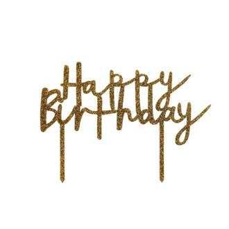 "Tårtdekoration Guld ""Happy birthday"""