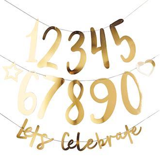"""Girlang guld Let´s celebrate"""" med valfri ålder DIY"""