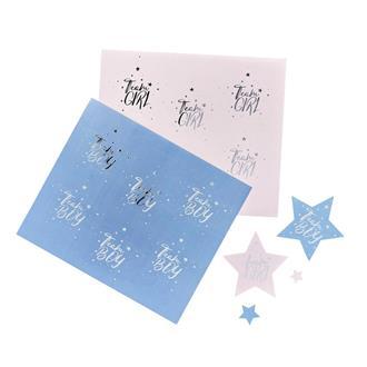 Babyshower klistermärken rosa/blå, 24-pack