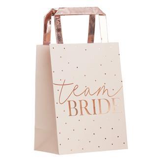 Partypåsar Team Bride roseguld, 5-pack