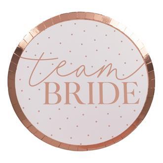 Papperstallrikar Team Bride, 8-pack