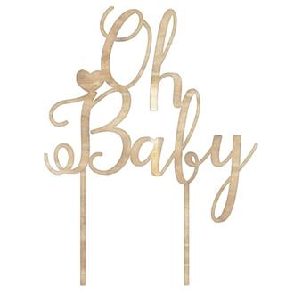 Cake topper - Oh baby trä
