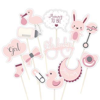 Photobooth skyltar babyshower rosa, 13-pack