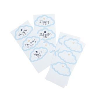 """Klistermärken Babyshower """"... to Be"""" blå, 18-pack"""