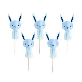 Cupcake toppers/coktailpinnar kanin blå, 6-pack