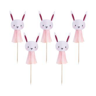 Cupcake toppers/coktailpinnar kanin rosa, 6-pack
