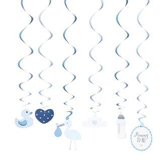 Dekoration babyshower blå, 6-pack