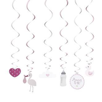 Dekoration babyshower rosa, 6-pack