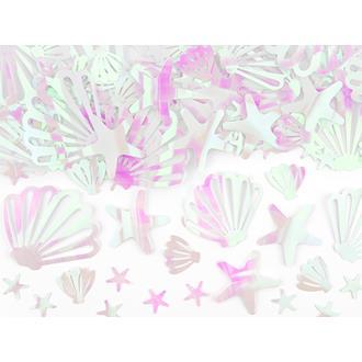 Konfetti snäckskal och sjöstjärnor holografisk