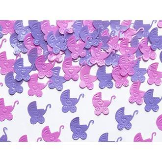 Konfetti rosa/lila till dop/babyshower