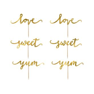 Cupcake toppers Love guld, 6-pack