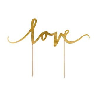 "Tårtdekoration ""love"" Guld"