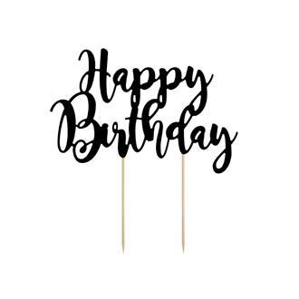 """Tårtdekoration """"Happy Birthday"""" svart"""