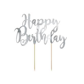"Cake topper Silver ""Happy birthday"""