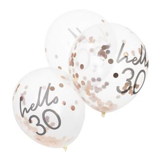 "Konfettiballong ""hello 30"" Roséguld, 5-pack"