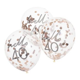"Konfettiballong ""hello 40"" Roséguld, 5-pack"