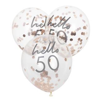 "Konfettiballong ""hello 50"" Roséguld, 5-pack"
