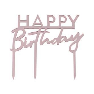 """Tårtdekoration """"Happy Birthday"""" Roséguld"""