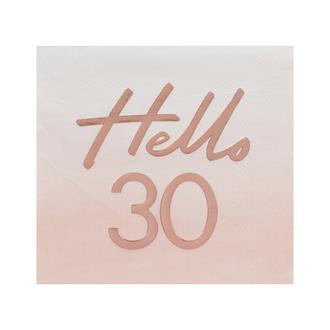 Servett Hello 30 Rosa/Rosé, 16-pack