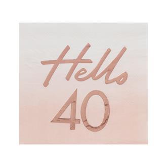Servett Hello 40 Rosa/Rosé, 16-pack