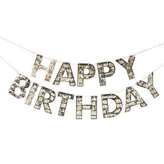"""Banner """"Happy birthday"""" Tassel Guld"""