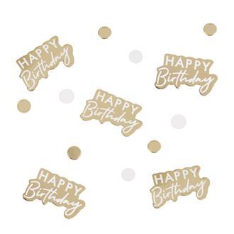 """Konfetti """"Happy Birthday"""" Guld/Vit"""