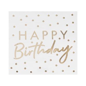 Servett HAPPY Birthday Prickig Vit/Guld