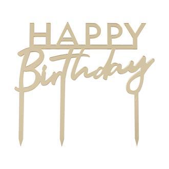 "Tårtdekoration ""Happy Birthday"" Guld"