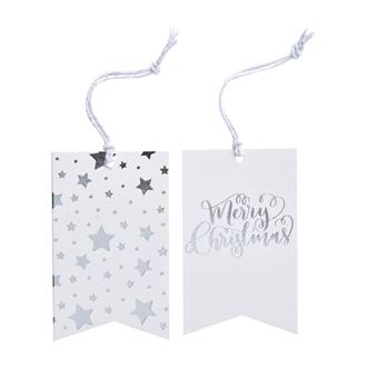Etiketter Merry Christmas Silver, 8st