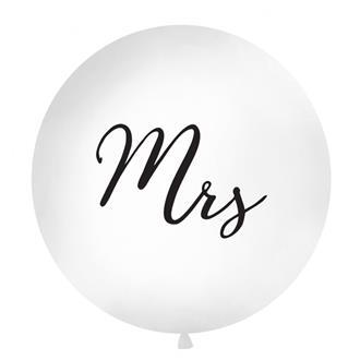 """Ballong """"Mrs"""" svart text, 1 m."""