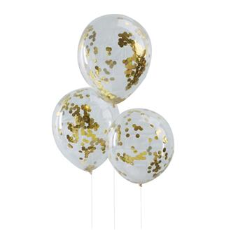 Konfetti ballong Guld, 5-pack