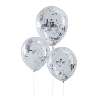 Konfetti ballong Silver, 5-pack
