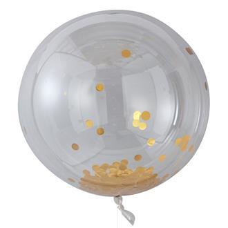 Konfettiballong Large Guld, 3st