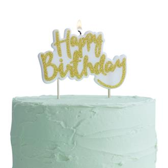 "Tårtljus ""Happy Birthday"" Guld"