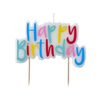 "Tårtljus ""Happy Birthday"" pastell"