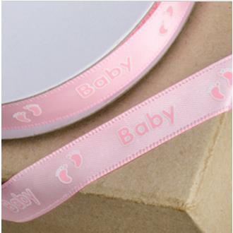 Satinband babyfötter rosa 6 mm. metervara