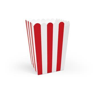 Popcornboxar röd/vit, 6-pack