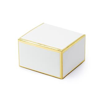 Presentask vit med guldkant, 10st