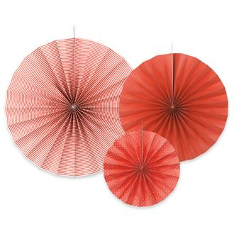 Dekorationsrosetter Röd/vit, 3-pack